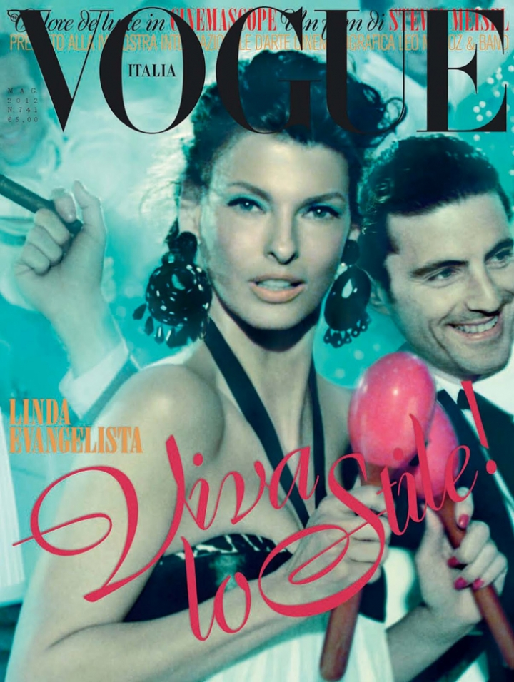 La Linda stars in a cover that resembles a vintage Italian Movie poster. ph. Steven Meisel